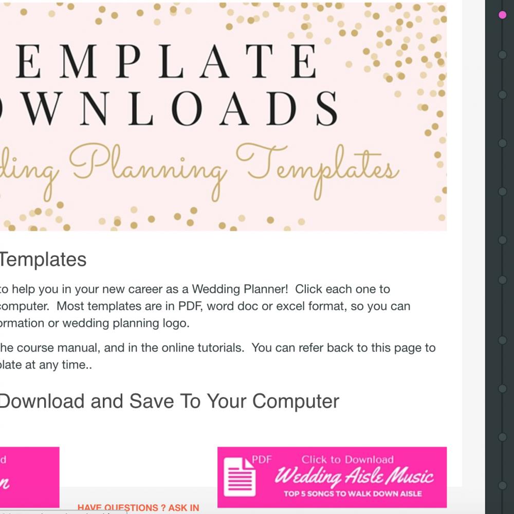 The Wedding Planner Institute- Sample Wedding planning course tutorials- Australia